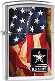 Zippo US Army American Flag High Polish Pocket Lighter, Chrome