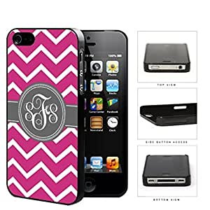 Pink And White Chevron With Gray Centered Monogram (Custom Initials) Hard Plastic Snap On Cell Phone Case Apple iPhone 4 4s