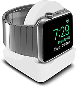 Pokanic Designed Compatible with Apple Watch Series SE / 6/5 / 4/3 / 2/1 / 44mm / 42mm / 40mm / 38mm Stand with Night Stand Mode, Integrated Cable Management Slot Stand Holder Mount (White)