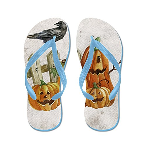 Royal Lion Women's Cute Halloween Pumpkins and Crow Caribbean Blue Rubber Flip Flops Sandals 9-11 -