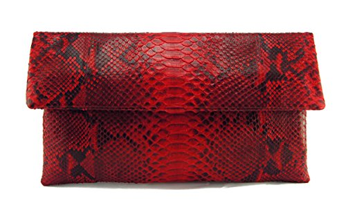 Genuine Red Motif Python Leather Classic Foldover Clutch Bag