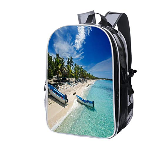 Cart Bag Catalina - High-end Custom Laptop Backpack-Leisure Travel Backpack Fishing Boats in Catalina Island Beach Water Resistant-Anti Theft - Durable -Ultralight- Classic-School-Black