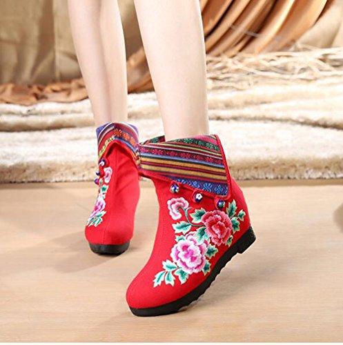 KHSKX-China Viento Viejo Beijing Zapatos Botas Y Botas De Estilo Folk Con Aumento De Algodón Bordado Bordado Botas Botas gules