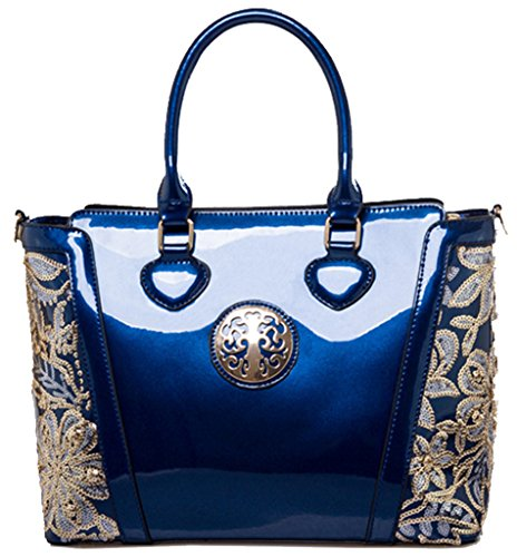 New Handbag Messenger Ghlee Bag Women's Large Purse Shoulder 2017 Leather Patent Tote Blue Fashion 2 Ladies 55Uvfar1c