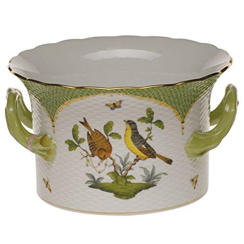Herend Rothschild Bird Green Cachepot With Handles