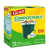 Glad 100% Compostable OdourShield  Easy-Tie  Tall Bags, Lemon Scent, 10 Count