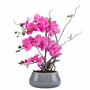 Flower Arrangement with Decorative Vase Full Artificial Orchid Plant with Real Looking (Gray-vase, Pink) 35