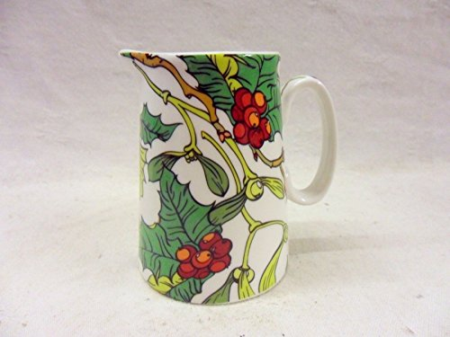 Mistletoe and holly christmas design cream jug made for the Abbeydale collection for Heron Cross Pottery.