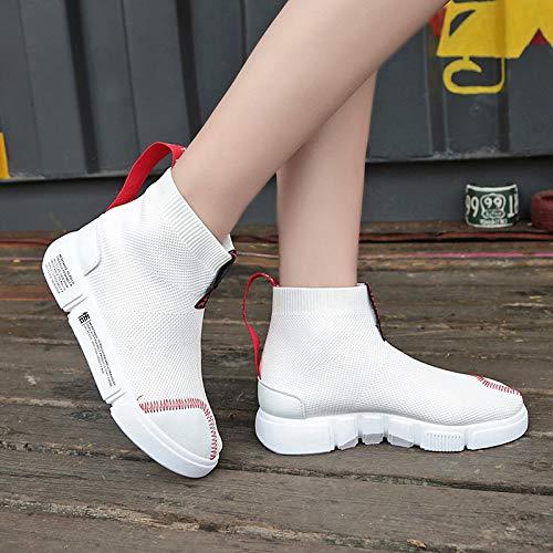 Stivali Inverno Moda Tacco poliuretano White Scarpe PU da ZHZNVX camminata Stivaletti Comfort Nero piatto punta Autunno Bianco donna Sneakers da rotonda Scarpe Stivaletti qzw4BY8