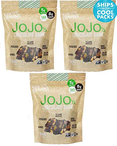 JOJO's- Dark Chocolate Bark With All Natural Protein Raw Nuts and Fruit, NON-GMO, Gluten Free, Paleo Friendly, 1.2 Ounce Bars, 21 Count(Three Week Supply- 25 oz) (Average Calories In A Chocolate Chip Cookie)