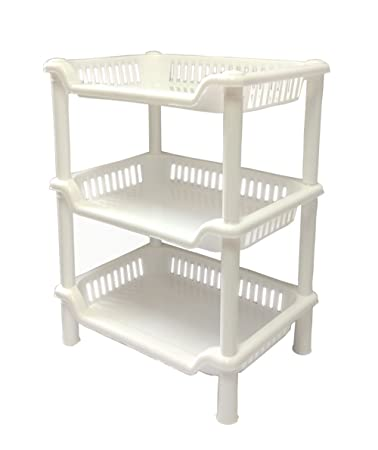 Amazon.com: Plastic Shelf Bathroom Storage Shelves 3 Tier Shelves ...
