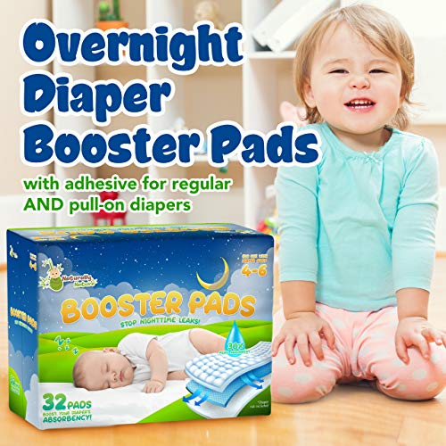 Naturally Nature Overnight Diaper Doubler Booster Pads with Adhesive for Pull-on & Regular Diapers   Nighttime Leak Protection for Heavy Wetters, Diaper Liners for Boys & Girls