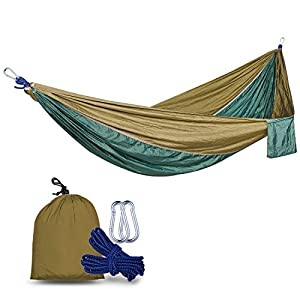 QMS Portable Camping Hammock, Lightweight Nylon Parachute Hammock, Travel  Outdoor Hammock, For Outdoor,Traveling, Camping, Hiking, Backpacking