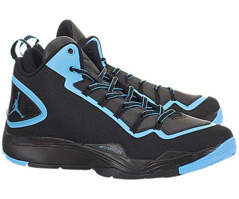 Nike Mens Air Jordan Super.Fly 2 PO Basketball Shoes Black/Powder Blue 645058-006 Size 11.5