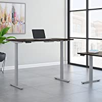 Move 60 Series 72W x 24D Height Adjustable Standing Desk in Mocha Cherry with Cool Gray Metallic Base