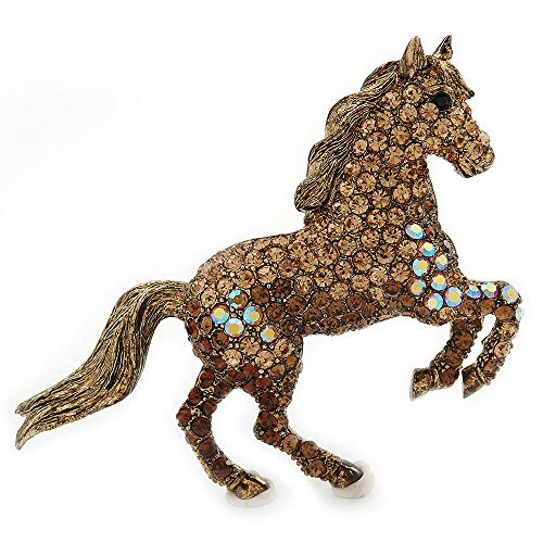 (Avalaya Topaz, Amber, AB Coloured Pave Set Austrian Crystal 'Horse' Brooch/Pendant In Broze Tone - 65mm Across)