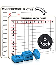 Pack of 5 Dry Erase Multiplication White Boards 9 x 12 Inch Small Lapboard l Durable Portable Double Sided Times Table Math Practice White Board for Kids Students, Classroom and Home