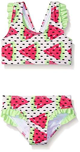 Jantzen Girls' Big Girls' Watermelon Ruffle Bikini Swimsuit, Mint/White, 4