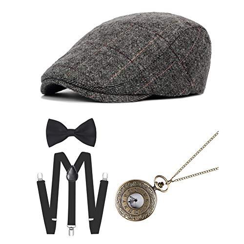 Icevog 1920s Mens Gatsby Gangster Costume Accessories Set Manhattan Fedora Newsboy Cap Hat Suspenders -
