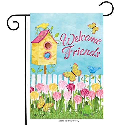 Briarwood Lane Sunshine Garden Spring Garden Flag Welcome Friends Floral Birdhouse 12.5