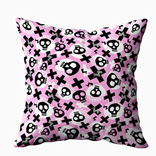 Anucky 18x18 Pillow Cover,Halloween Pillow Covers, Punk Pattern Grunge Bold Painted Funky Skulls Rock for Your Home Printed with Fashion Pattern Soft Case for Bedroom Decorative Pillow Covers -
