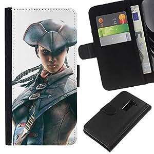 YiPhone /// Tirón de la caja Cartera de cuero con ranuras para tarjetas - Pirata Assassin - LG G2 D800