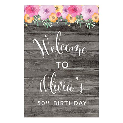 Andaz Press Personalized Extra Large Birthday Easel Board Party Sign, 12x18-inch, Rustic Gray Wood Pink Floral Flowers, Welcome to Olivia's 50th Birthday, 1-Pack, Custom Name Age