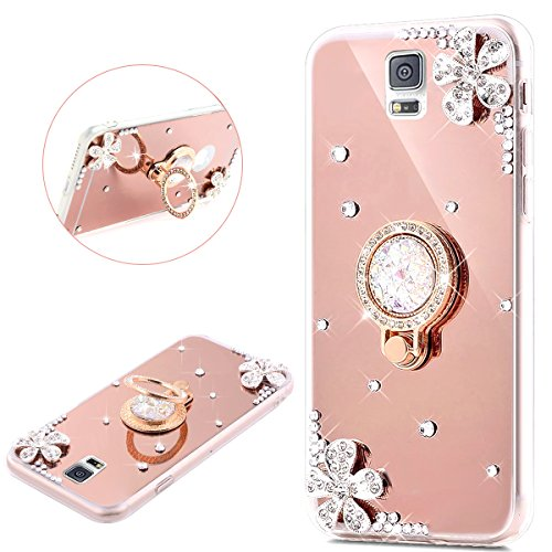 PHEZEN Galaxy Note 4 Case, Samsung Galaxy Note 4 Glitter Case Bling Rhinestone Rose Gold Mirror Makeup Case with Ring Holder Stand Diamond Crystal Flower Protective TPU Case for Samsung Galaxy Note 4 (Bling Bumper Case For Note 4)