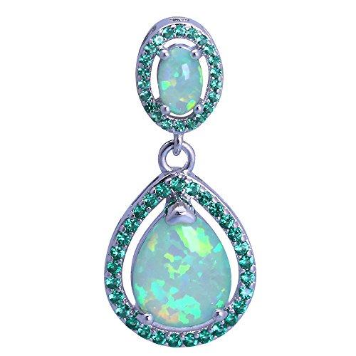 Green Opal Pendant - Green Fire Opal Silver Stamped Necklaces Pendants for Women OP728