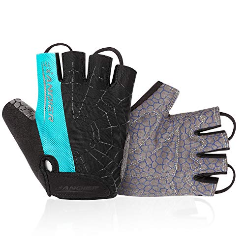 Lanyi Cycling Gloves Bike Gloves Mens Womens Shock-Absorbing Pad Anti-Slip Half Finger Weight Lifting Gloves Biking Gloves Workout Gloves Mountain Climbing Bicycle Exercise Gloves (Blue,L)