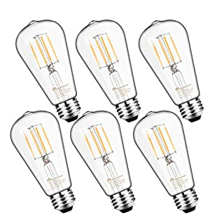 Mastery Mart Vintage LED Light Bulb, Glass ST21 Antique Edison Style, Dimmable 5.5W (60 Watt Equivalent), 500LM 4000K Cool White, E26 Decorative Filament Bulb, UL and Energy Star, 6 Pack