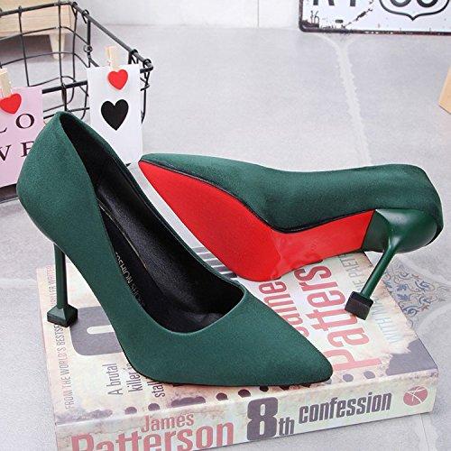 Xue Qiqi 10 cm Schwarz wild satin High Heels mit dünnen Schuhe pro Arbeit Schuhe für Frauen singles Schuhe 38 Grün 10 cm