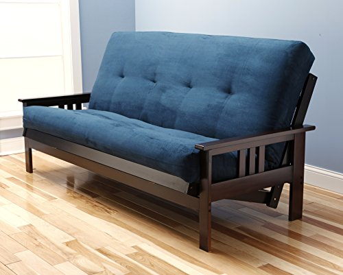 - Jerry Sales Full Size Excelsior Espresso Futon Frame w/ 8 Inch Innerspring Mattress Sofa Bed Wood Futons (Navy Matt and Frame Only (Full Size))