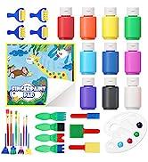 Washable Finger Paint Set, Shuttle Art 33 Pack Kids Paint Set with 10 Colors (60ml) Finger Paints...