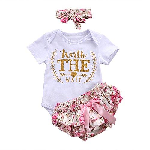 (Infant Girls Letter Romper Floral Bow Shorts Headband 3pcs Clothes Set (3M, White))