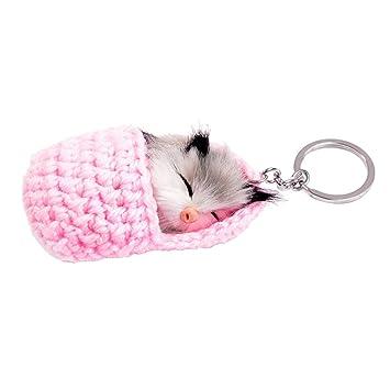 Llavero Colgantes de Felpa - Mini Juguete Forma de Gato Durmiendo Llavero de Coche
