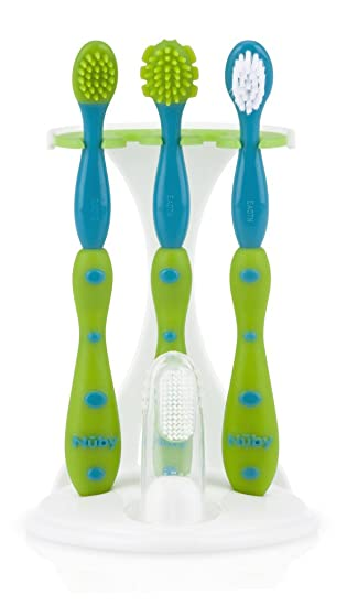 Nuby Baby First Toothbrush Set 3 Piece Set 3 Stage Brushing Toothbrushes NEW