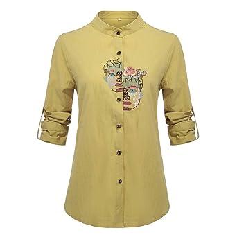 Gusspower Camiseta de Mujer Rollo de Manga Largas Algodón Lino ...