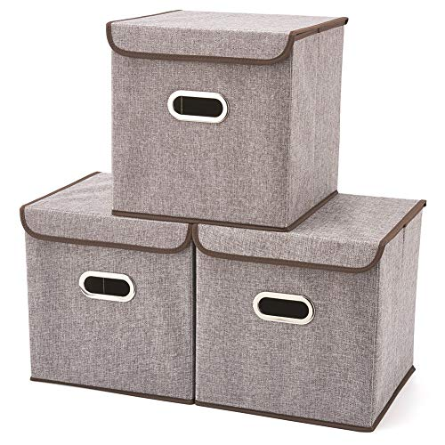 Storage Boxes with Lid [3-Pack] EZOWare Linen Fabric Foldable Basket Cubes Organizer Bin Box Containers Drawers with Lid - Gray for Office Nursery Bedroom Shelf (12.6x12.6x12.6 inch)