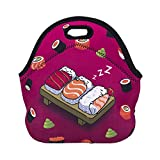 Violet Mist Neoprene Reusable Insulated Lunch Tote Bag School Picnic Thermal Carrying Gourmet Lunchbox Container Organizer For Men, Women, Adults, Kids, Girls, Boys(Sleeping Sushi)
