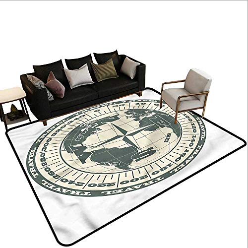 Octagonal Globe - Compass,Thin Non-Slip Kitchen Bathroom Carpet 80