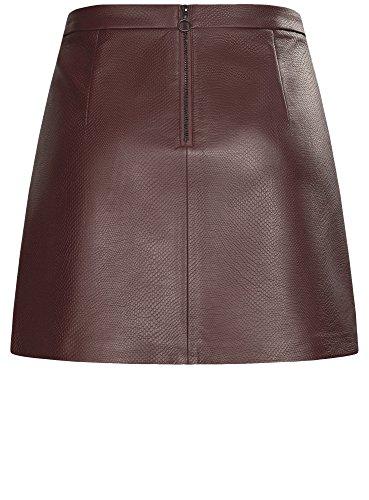 oodji Ultra Mujer Falda de Piel Sintética con Cremalleras Decorativas Marrón (4900N)