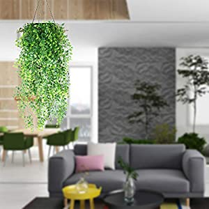 Hukidoy Artificial Plants Vines Fake Hanging Ivy Decor Plastic Greenery for Wall Indoor Outdoor Hanging Baskets Wedding Garland Decor (Pack of 2) 5