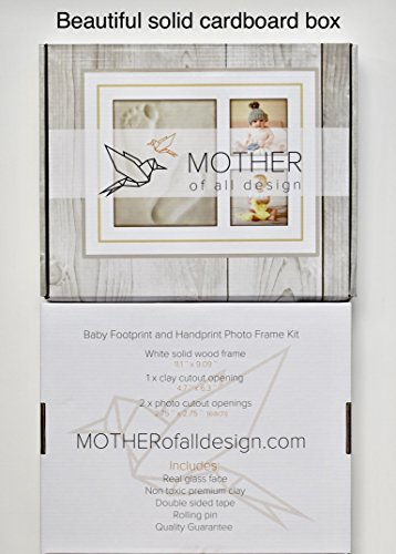 Baby Handprint Picture Frame Kit - Mold Free Treatment, 100% Glass Face, How to Video, Ideal Baby Shower or Registry Gift for Newborn Boys or Girls, Personalized Nursery Room Decor by Mother of all Design (Image #7)