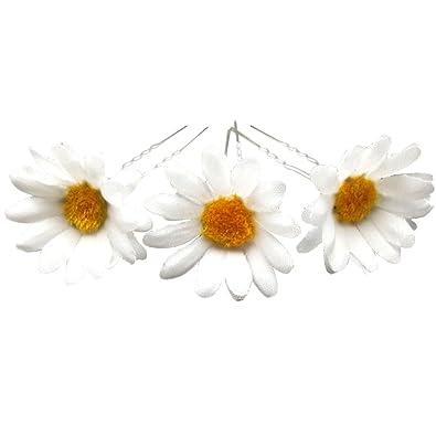TOOKY 12pcs wedding white daisy flower hair pin hair flower pins QUtnYpqK