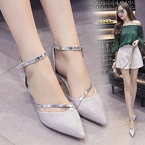 Zapatos Punta de Sandalias con la de 36 de Plata Zapatos de Moda Palabra La Mujer Hebilla wSxRXXz