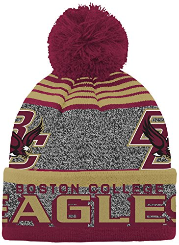 Acrylic College Hat - NCAA by Outerstuff NCAA Boston College Eagles Youth Boys Jacquard Cuff Pom Hat, Burgundy, Youth One Size