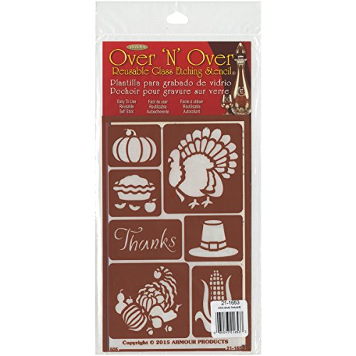 Glass Thanksgiving (Armour Products 21-1653 Over N Over Glass Etching Stencil, 5-Inch by 8-Inch, Giving Thanks)