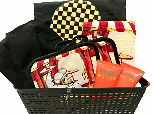 Lulu's Baskets (Women's) CHEF GIFT BASKET, Includes Personalized Chef Hat and Apron, Mitts, Pot Holders in Beautiful plastic wicker basket + giant Bow (DeLuxe Basket)