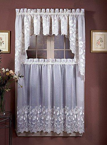 Amazon.com: Blossom Lace Kitchen Curtains, Ecru, (Blossom ...
